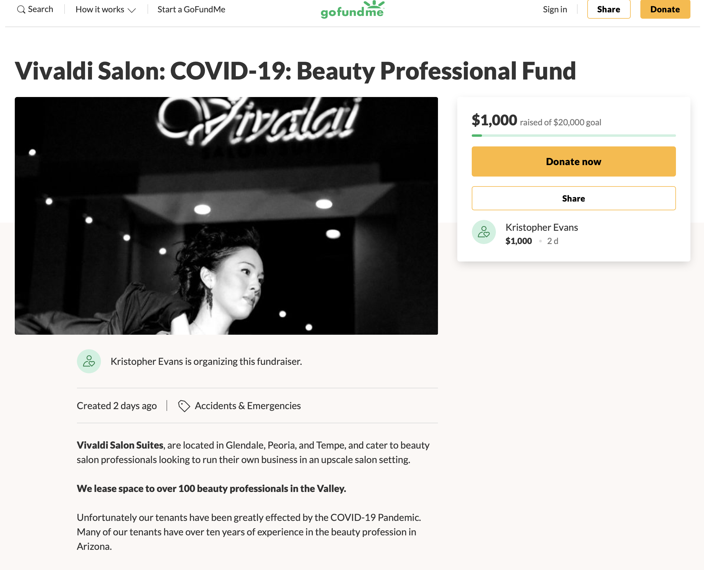 Vivaldi Salon: COVID-19: Beauty Professional Fund